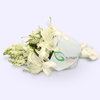 Send white flower bouquet to Saigon